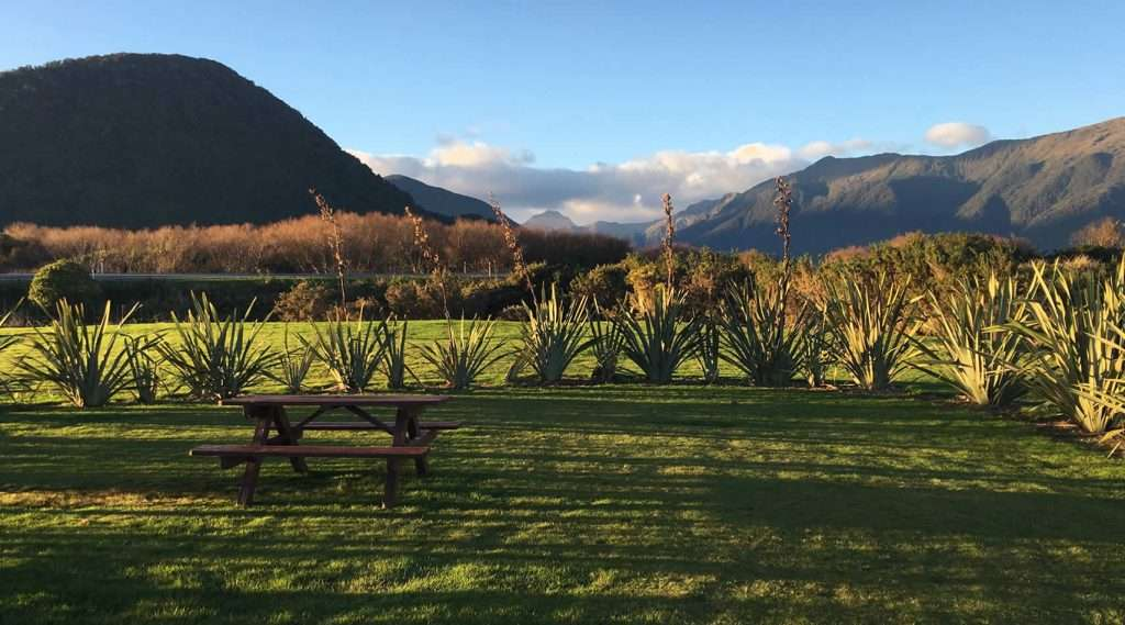 Views from the campground at Haast River Motels & Holiday Park