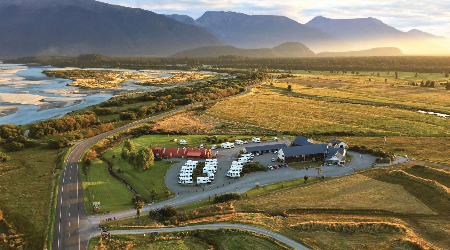 Aerial view of Haast River Motels & Holiday Park